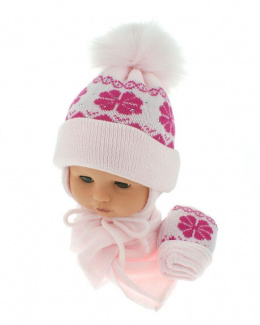 Baby hat with scarf and gloves (CZ + S + R 012C)