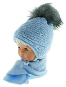 Baby hat with a scarf CZ + S 015F
