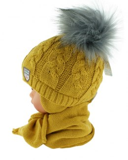 Baby hat with a scarf PART + S 049G